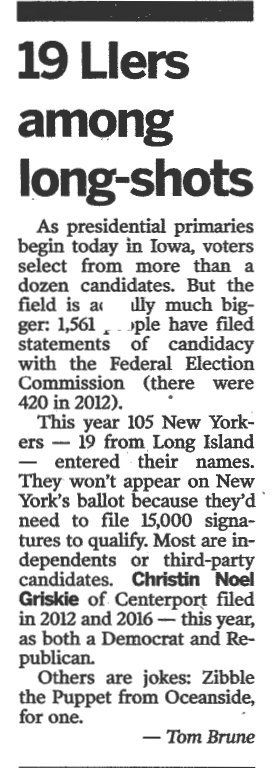 Zibble for President in Newsday