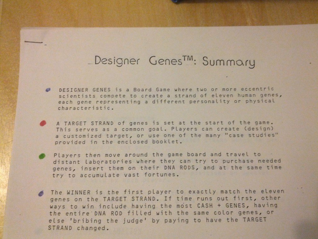 Designer Genes : The Game - History from 1984 and it's original inception 3